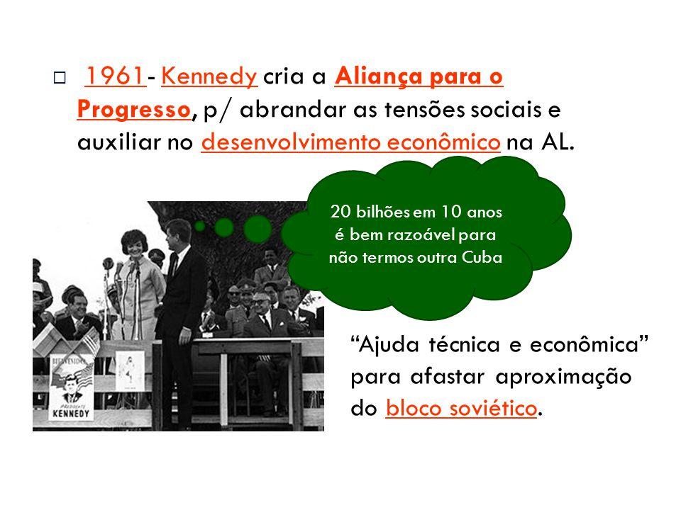  1961- Kennedy cria a Aliança para o Progresso, p/ abrandar as tensões sociais e auxiliar no desenvolvimento econômico na AL.1961KennedyAliança para