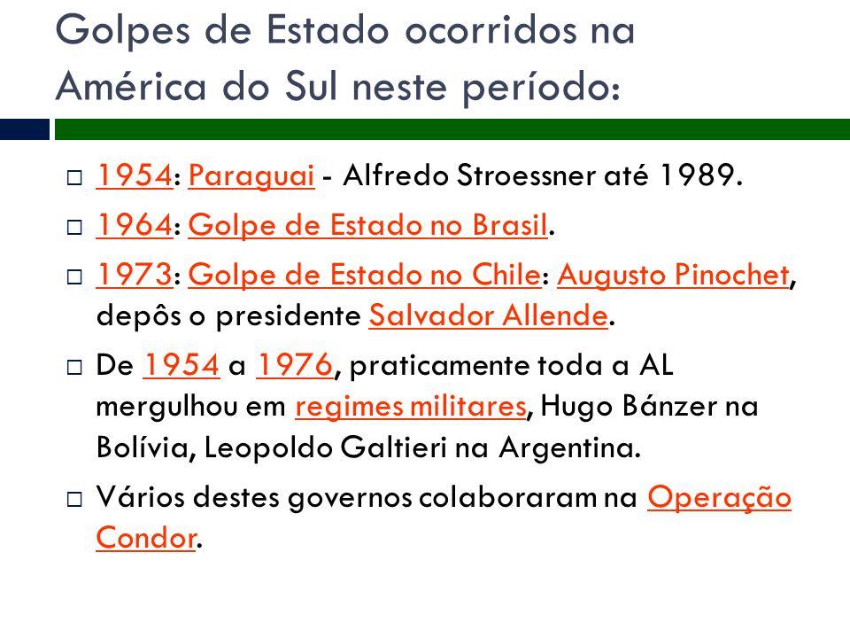 Golpes de Estado ocorridos na América do Sul neste período:  1954: Paraguai - Alfredo Stroessner até 1989. 1954Paraguai  1964: Golpe de Estado no Br