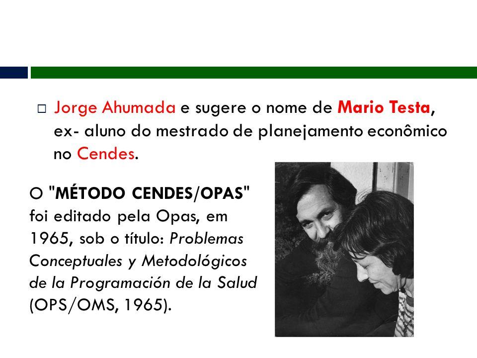  Jorge Ahumada e sugere o nome de Mario Testa, ex- aluno do mestrado de planejamento econômico no Cendes. O