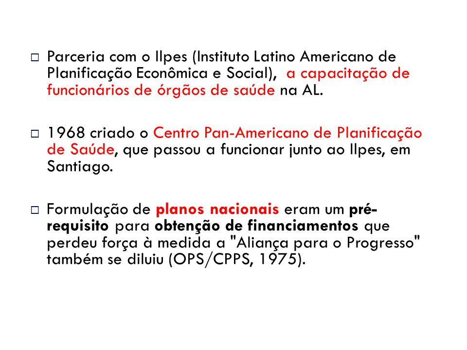  Parceria com o Ilpes (Instituto Latino Americano de Planificação Econômica e Social), a capacitação de funcionários de órgãos de saúde na AL.  1968
