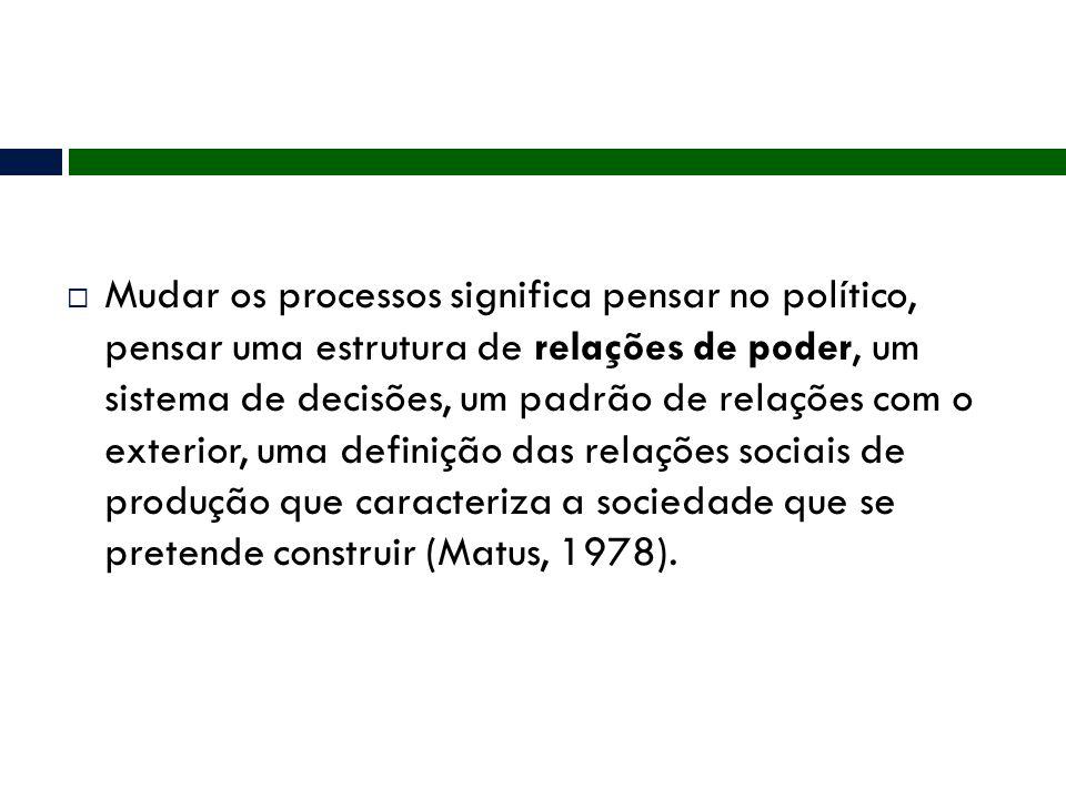  Mudar os processos significa pensar no político, pensar uma estrutura de relações de poder, um sistema de decisões, um padrão de relações com o exte