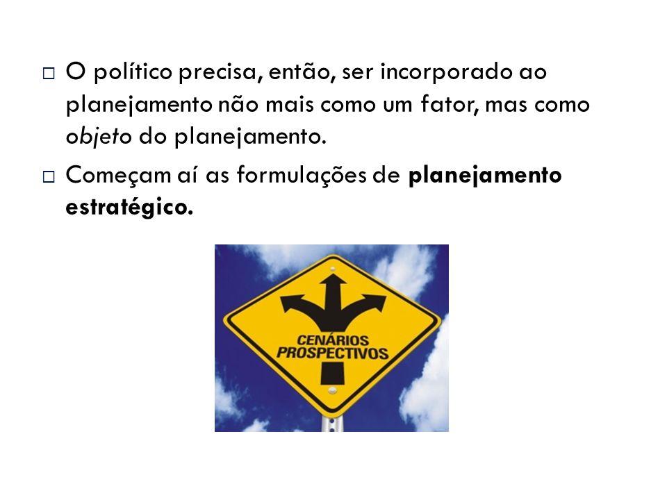 O político precisa, então, ser incorporado ao planejamento não mais como um fator, mas como objeto do planejamento.  Começam aí as formulações de p