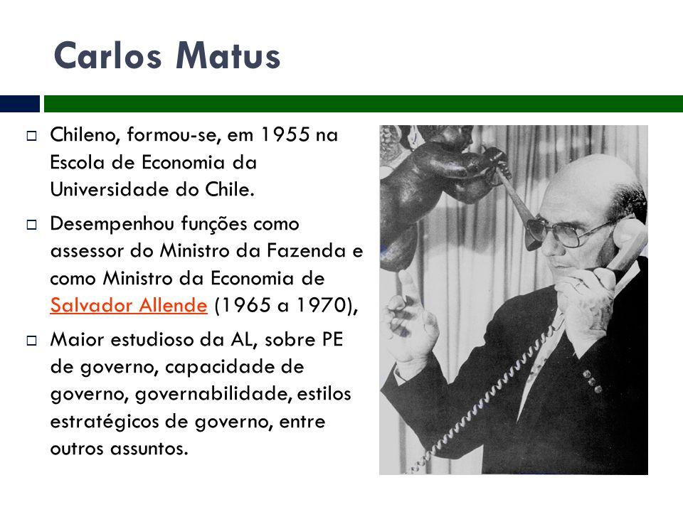 Carlos Matus  Chileno, formou-se, em 1955 na Escola de Economia da Universidade do Chile.  Desempenhou funções como assessor do Ministro da Fazenda