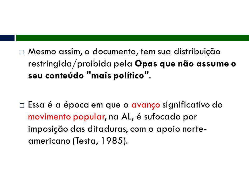 Mesmo assim, o documento, tem sua distribuição restringida/proibida pela Opas que não assume o seu conteúdo