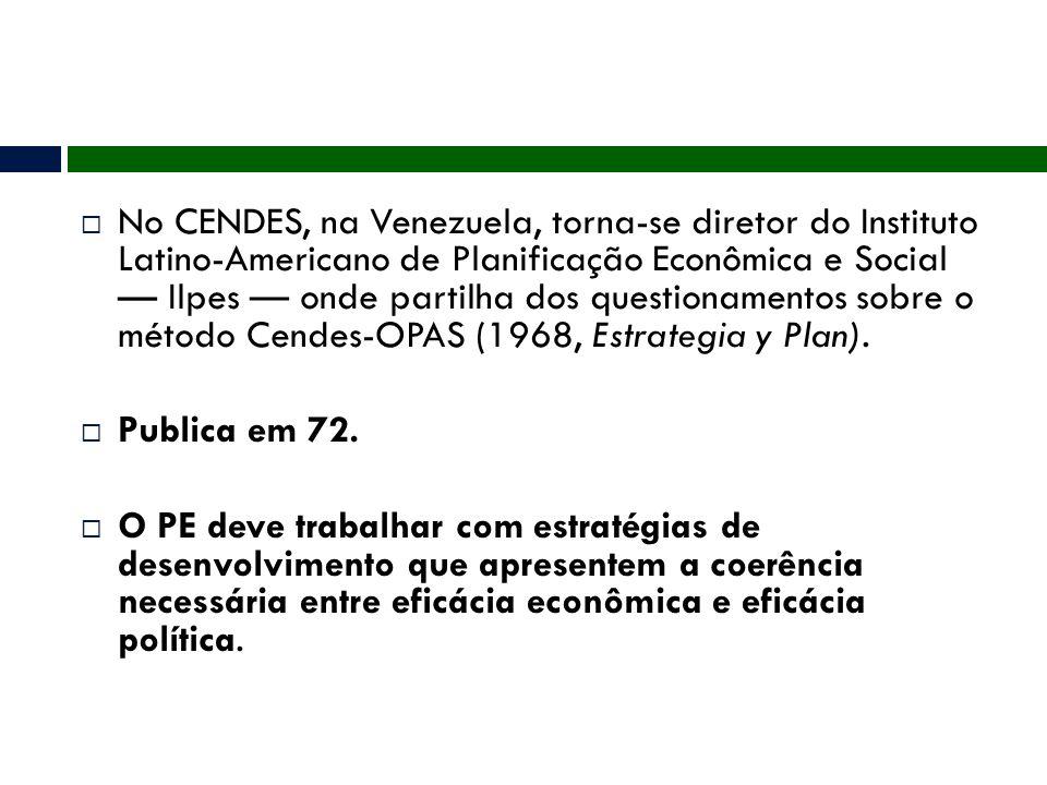  No CENDES, na Venezuela, torna-se diretor do Instituto Latino-Americano de Planificação Econômica e Social — Ilpes — onde partilha dos questionament