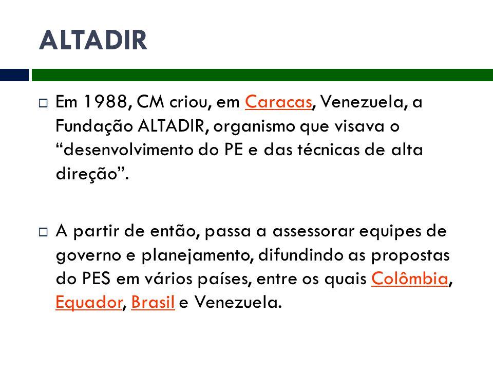 """ALTADIR  Em 1988, CM criou, em Caracas, Venezuela, a Fundação ALTADIR, organismo que visava o """"desenvolvimento do PE e das técnicas de alta direção""""."""