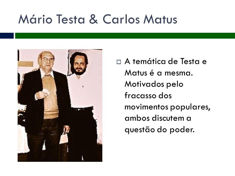 Mário Testa & Carlos Matus  A temática de Testa e Matus é a mesma. Motivados pelo fracasso dos movimentos populares, ambos discutem a questão do pode