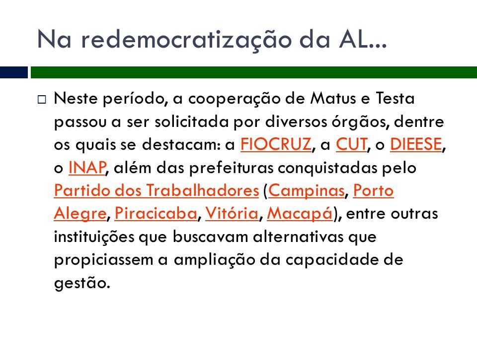 Na redemocratização da AL...  Neste período, a cooperação de Matus e Testa passou a ser solicitada por diversos órgãos, dentre os quais se destacam: