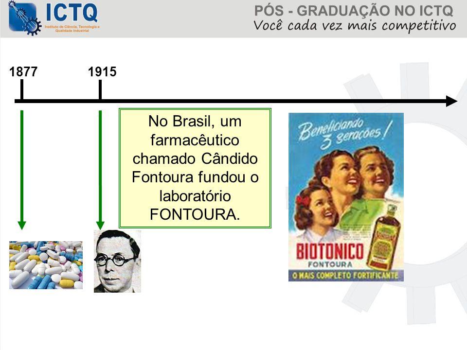 1915 No Brasil, um farmacêutico chamado Cândido Fontoura fundou o laboratório FONTOURA. 1877