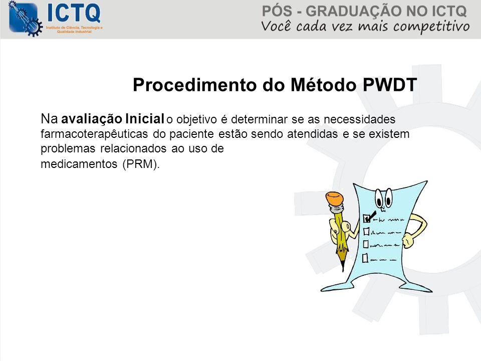 Procedimento do Método PWDT Na avaliação Inicial o objetivo é determinar se as necessidades farmacoterapêuticas do paciente estão sendo atendidas e se
