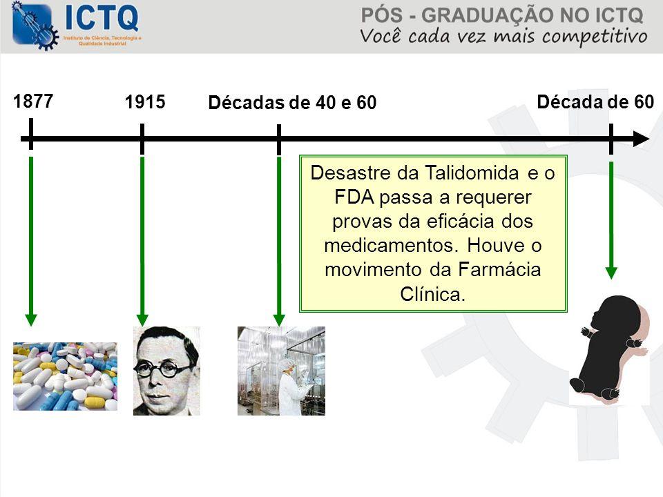 Décadas de 40 e 60 1915 1877 Década de 60 Desastre da Talidomida e o FDA passa a requerer provas da eficácia dos medicamentos. Houve o movimento da Fa