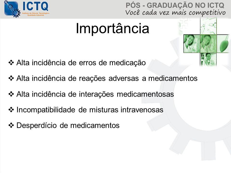 Importância  Alta incidência de erros de medicação  Alta incidência de reações adversas a medicamentos  Alta incidência de interações medicamentosa