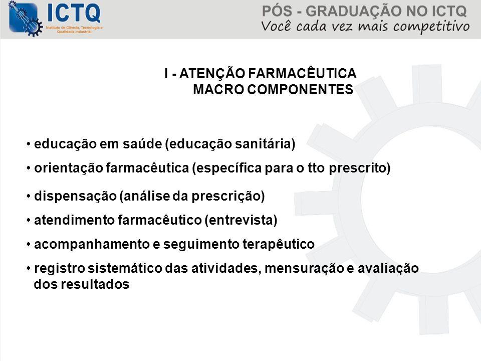 I - ATENÇÃO FARMACÊUTICA MACRO COMPONENTES educação em saúde (educação sanitária) orientação farmacêutica (específica para o tto prescrito) dispensaçã