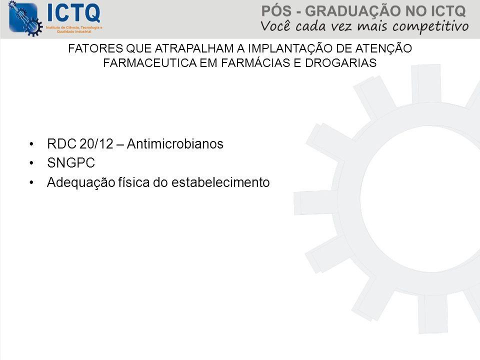 FATORES QUE ATRAPALHAM A IMPLANTAÇÃO DE ATENÇÃO FARMACEUTICA EM FARMÁCIAS E DROGARIAS RDC 20/12 – Antimicrobianos SNGPC Adequação física do estabeleci