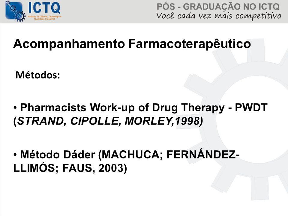 Acompanhamento Farmacoterapêutico Métodos: Pharmacists Work-up of Drug Therapy - PWDT (STRAND, CIPOLLE, MORLEY,1998) Método Dáder (MACHUCA; FERNÁNDEZ-