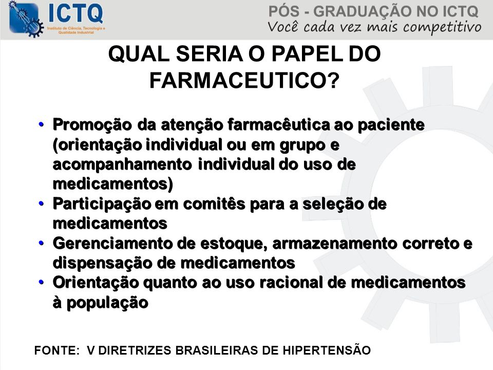 QUAL SERIA O PAPEL DO FARMACEUTICO.