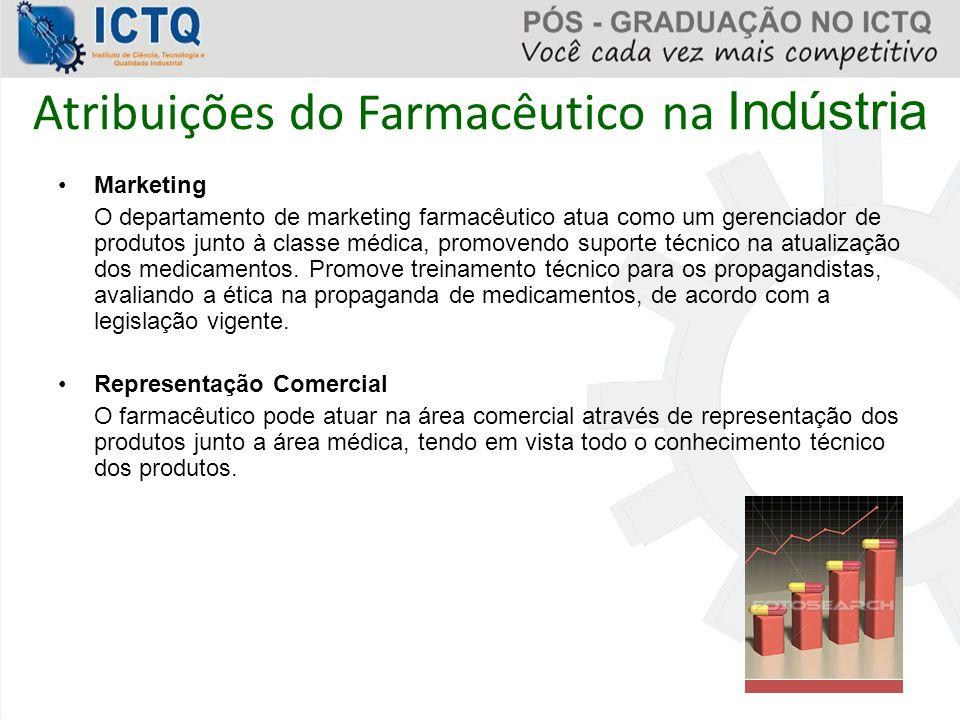 Atribuições do Farmacêutico na Indústria Marketing O departamento de marketing farmacêutico atua como um gerenciador de produtos junto à classe médica