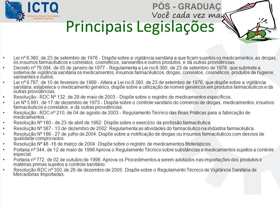 Principais Legislações Lei nº 6.360, de 23 de setembro de 1976 - Dispõe sobre a vigilância sanitária a que ficam sujeitos os medicamentos, as drogas,