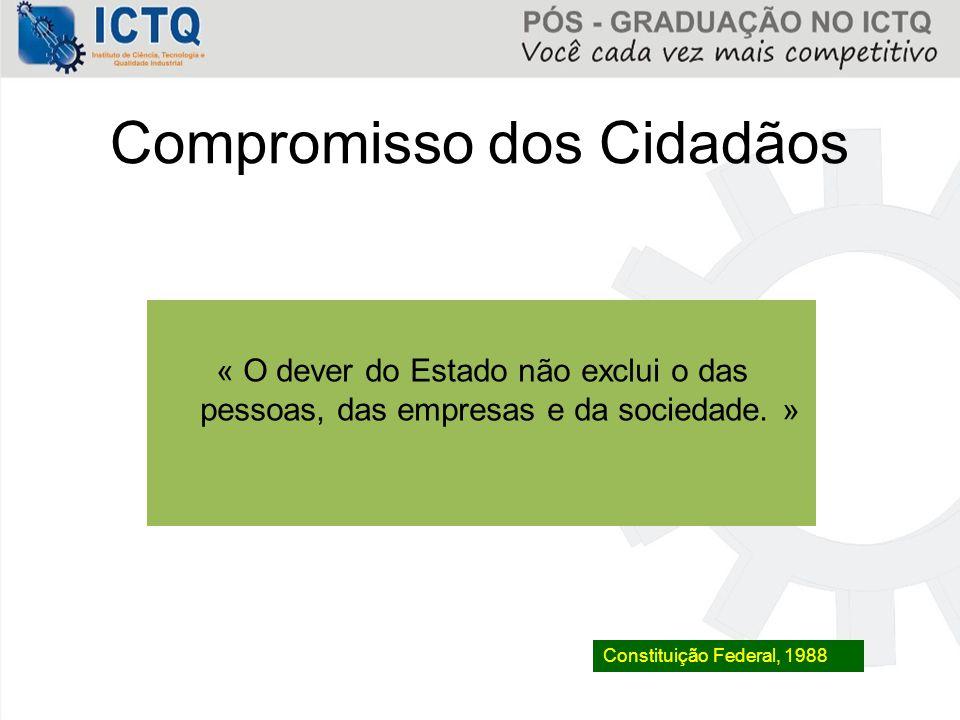 Compromisso dos Cidadãos « O dever do Estado não exclui o das pessoas, das empresas e da sociedade. » Constituição Federal, 1988