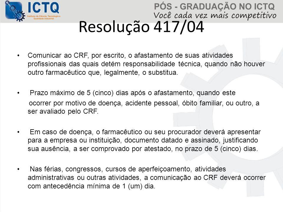 Comunicar ao CRF, por escrito, o afastamento de suas atividades profissionais das quais detém responsabilidade técnica, quando não houver outro farmac