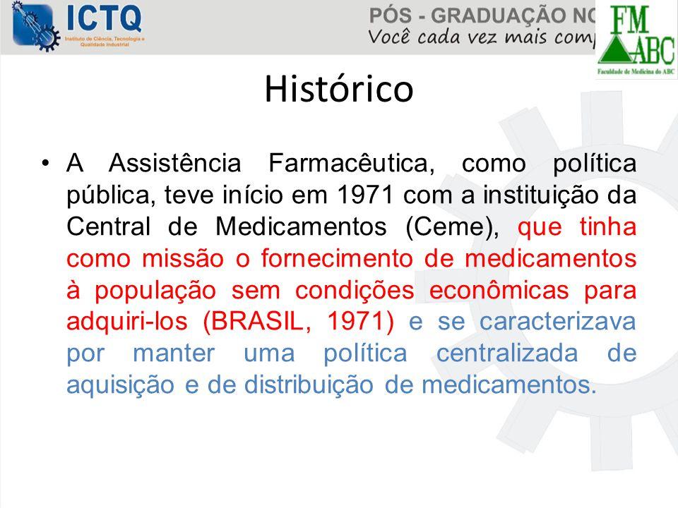 Histórico A Assistência Farmacêutica, como política pública, teve início em 1971 com a instituição da Central de Medicamentos (Ceme), que tinha como m