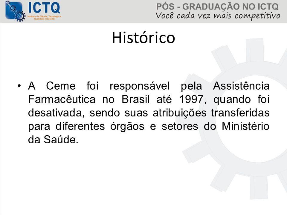 Histórico A Ceme foi responsável pela Assistência Farmacêutica no Brasil até 1997, quando foi desativada, sendo suas atribuições transferidas para dif
