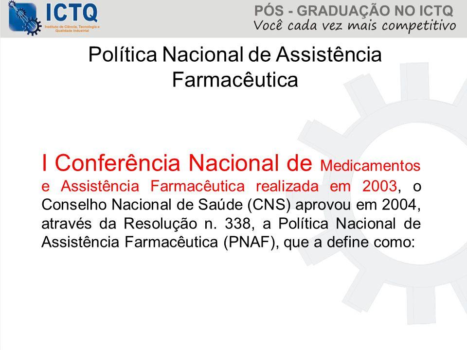 Política Nacional de Assistência Farmacêutica I Conferência Nacional de Medicamentos e Assistência Farmacêutica realizada em 2003, o Conselho Nacional