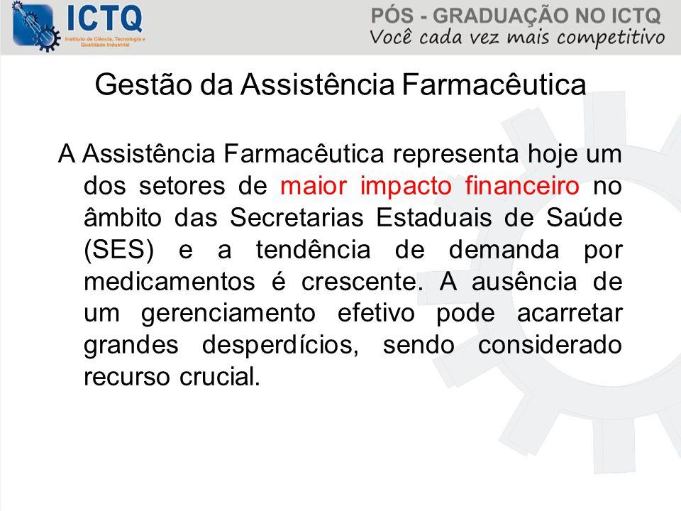 Gestão da Assistência Farmacêutica A Assistência Farmacêutica representa hoje um dos setores de maior impacto financeiro no âmbito das Secretarias Est