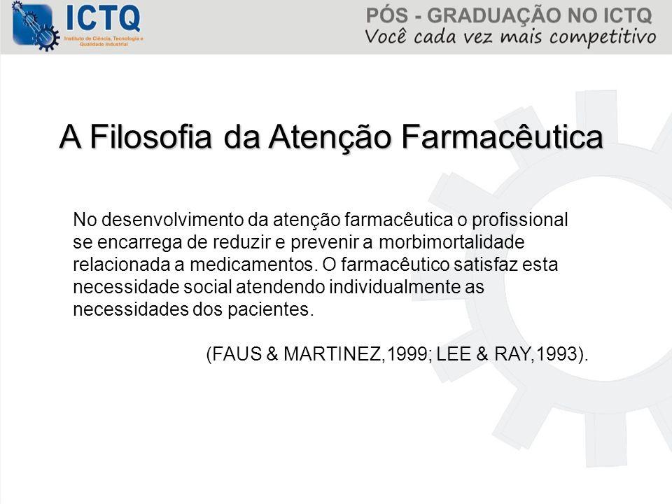A Filosofia da Atenção Farmacêutica No desenvolvimento da atenção farmacêutica o profissional se encarrega de reduzir e prevenir a morbimortalidade re