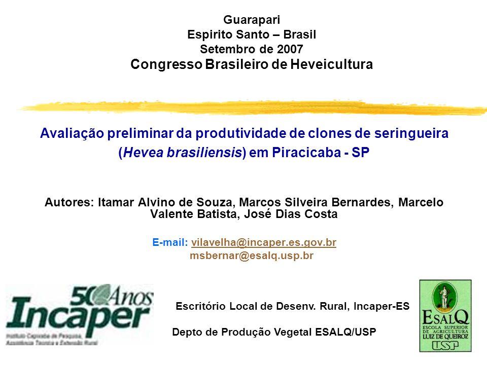 Guarapari Espirito Santo – Brasil Setembro de 2007 Congresso Brasileiro de Heveicultura Avaliação preliminar da produtividade de clones de seringueira