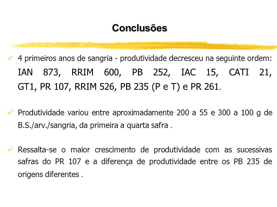 Conclusões 4 primeiros anos de sangria - produtividade decresceu na seguinte ordem: IAN 873, RRIM 600, PB 252, IAC 15, CATI 21, GT1, PR 107, RRIM 526,