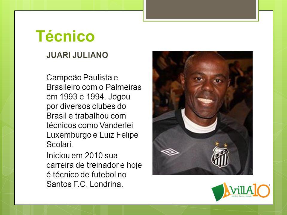 Técnico JUARI JULIANO Campeão Paulista e Brasileiro com o Palmeiras em 1993 e 1994. Jogou por diversos clubes do Brasil e trabalhou com técnicos como