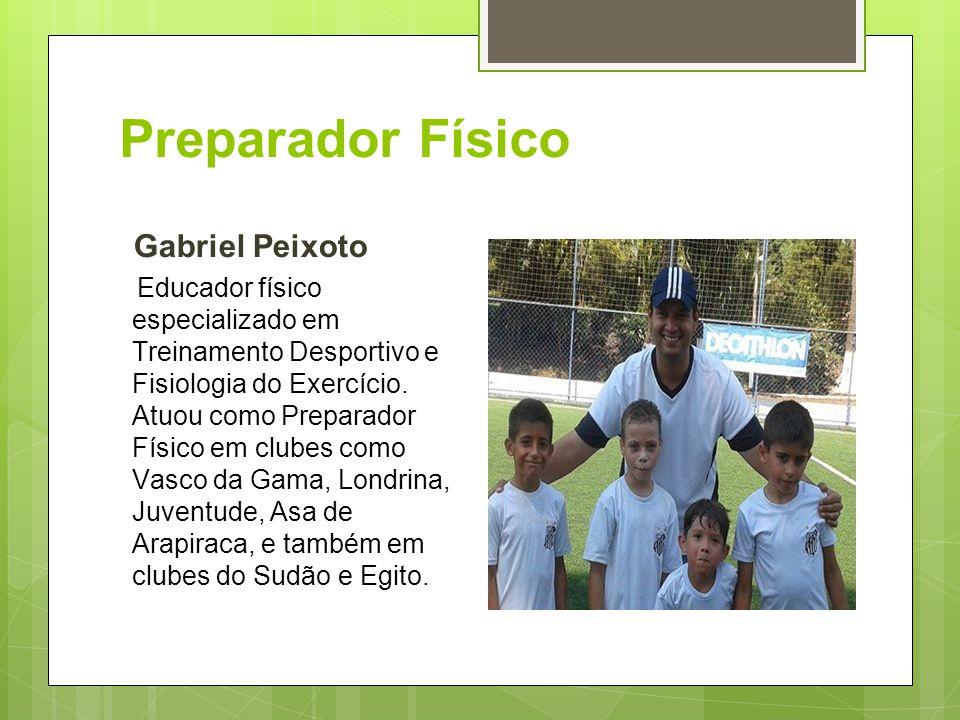 Preparador Físico Gabriel Peixoto Educador físico especializado em Treinamento Desportivo e Fisiologia do Exercício. Atuou como Preparador Físico em c
