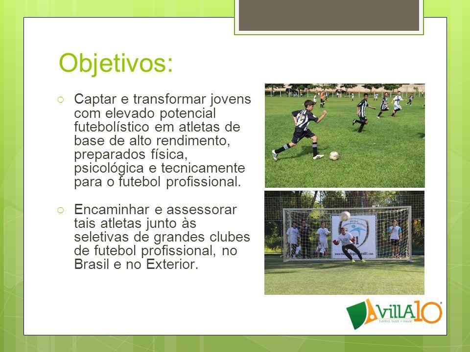 Objetivos: ○Captar e transformar jovens com elevado potencial futebolístico em atletas de base de alto rendimento, preparados física, psicológica e te