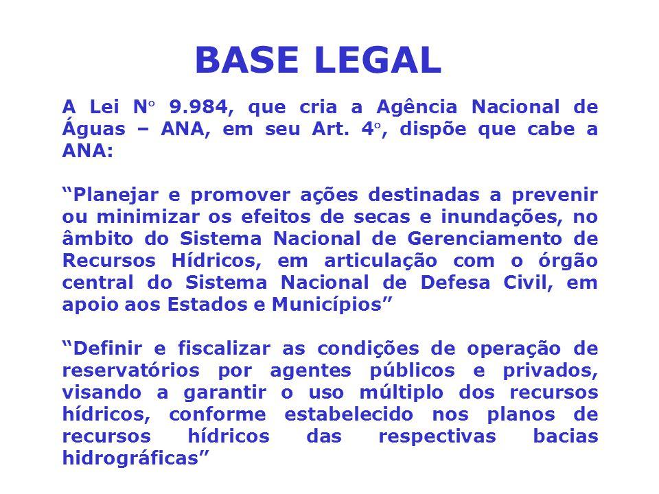 """A Lei N 9.984, que cria a Agência Nacional de Águas – ANA, em seu Art. 4, dispõe que cabe a ANA: """"Planejar e promover ações destinadas a prevenir ou"""