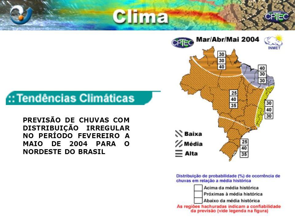 PREVISÃO DE CHUVAS COM DISTRIBUIÇÃO IRREGULAR NO PERÍODO FEVEREIRO A MAIO DE 2004 PARA O NORDESTE DO BRASIL