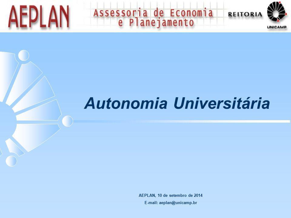 AEPLAN, 10 de setembro de 2014 E-mail: aeplan@unicamp.br Autonomia Universitária