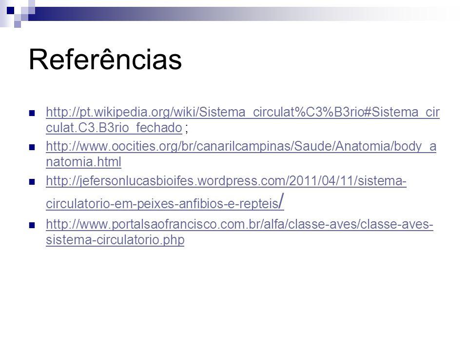 Referências http://pt.wikipedia.org/wiki/Sistema_circulat%C3%B3rio#Sistema_cir culat.C3.B3rio_fechado ; http://pt.wikipedia.org/wiki/Sistema_circulat%C3%B3rio#Sistema_cir culat.C3.B3rio_fechado http://www.oocities.org/br/canarilcampinas/Saude/Anatomia/body_a natomia.html http://www.oocities.org/br/canarilcampinas/Saude/Anatomia/body_a natomia.html http://jefersonlucasbioifes.wordpress.com/2011/04/11/sistema- circulatorio-em-peixes-anfibios-e-repteis / http://jefersonlucasbioifes.wordpress.com/2011/04/11/sistema- circulatorio-em-peixes-anfibios-e-repteis / http://www.portalsaofrancisco.com.br/alfa/classe-aves/classe-aves- sistema-circulatorio.php http://www.portalsaofrancisco.com.br/alfa/classe-aves/classe-aves- sistema-circulatorio.php