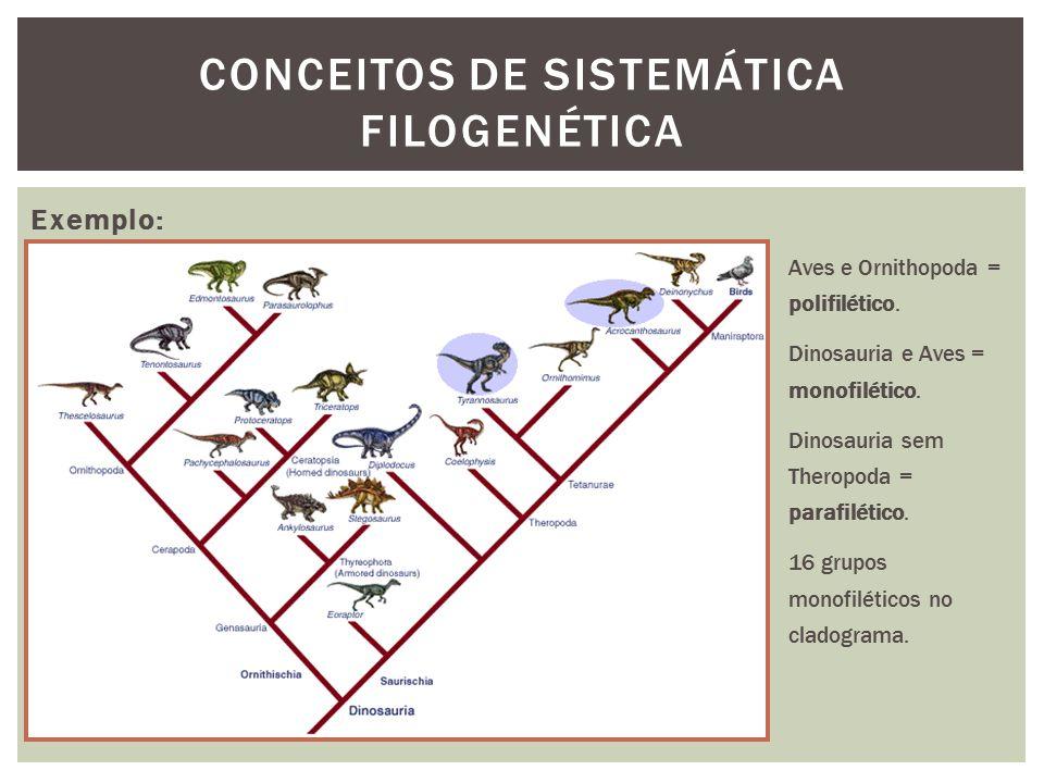 CONCEITOS DE SISTEMÁTICA FILOGENÉTICA Exemplo: Aves e Ornithopoda = polifilético. Dinosauria e Aves = monofilético. Dinosauria sem Theropoda = parafil