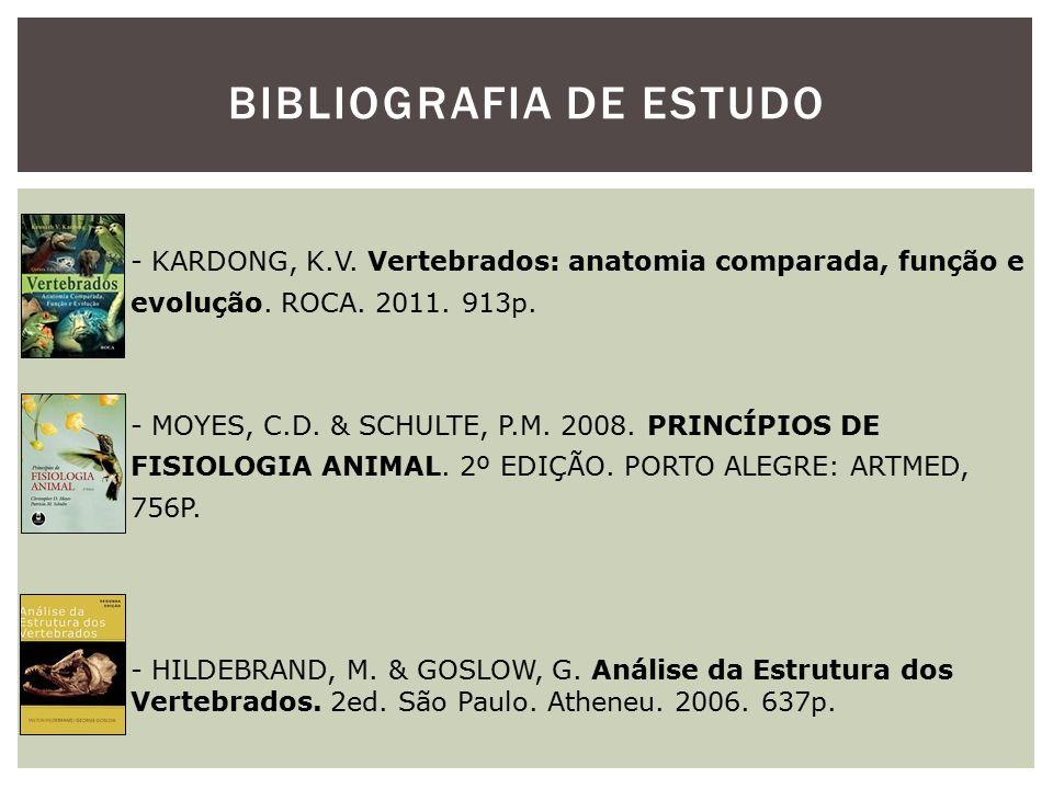 BIBLIOGRAFIA DE ESTUDO - KARDONG, K.V. Vertebrados: anatomia comparada, função e evolução. ROCA. 2011. 913p. - MOYES, C.D. & SCHULTE, P.M. 2008. PRINC