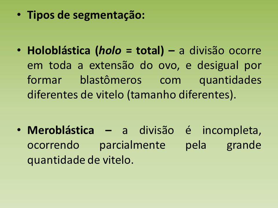 Tipos de segmentação: Holoblástica (holo = total) – a divisão ocorre em toda a extensão do ovo, e desigual por formar blastômeros com quantidades diferentes de vitelo (tamanho diferentes).