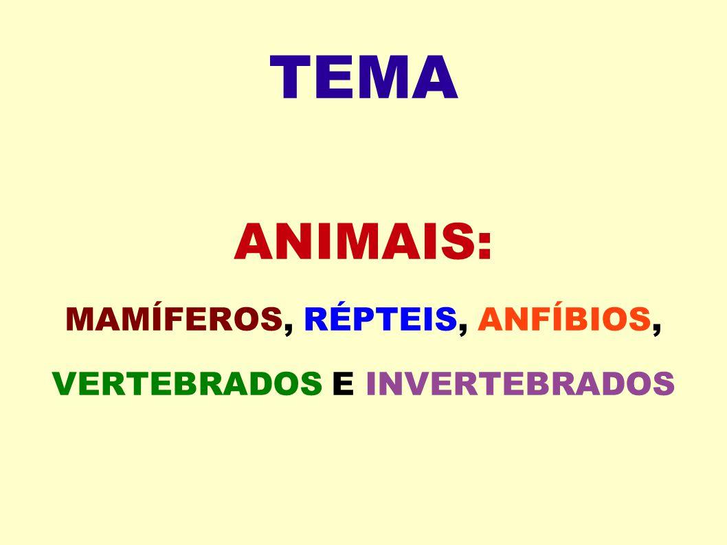 TEMA ANIMAIS: MAMÍFEROS, RÉPTEIS, ANFÍBIOS, VERTEBRADOS E INVERTEBRADOS