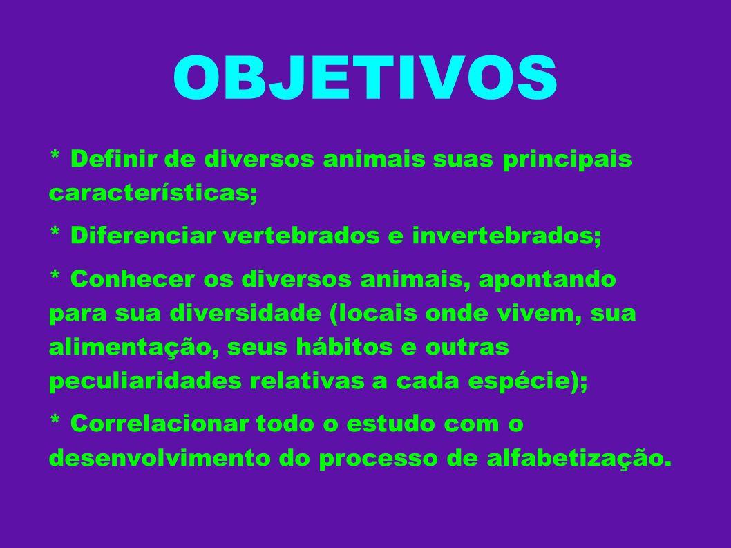 OBJETIVOS * Definir de diversos animais suas principais características; * Diferenciar vertebrados e invertebrados; * Conhecer os diversos animais, ap