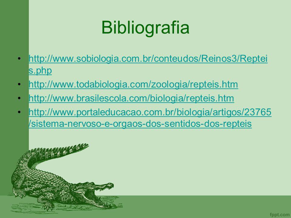 Bibliografia http://www.sobiologia.com.br/conteudos/Reinos3/Reptei s.phphttp://www.sobiologia.com.br/conteudos/Reinos3/Reptei s.php http://www.todabio