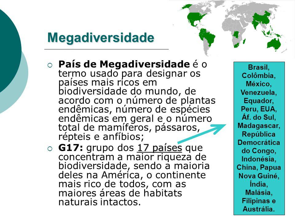 Brasil: campeão absoluto de biodiversidade terrestre  O país reúne quase 12% de toda a vida natural do planeta, assim distribuída: - 55 mil espécies de plantas superiores (22% de todas as que existem no mundo); - 524 espécies de mamíferos; - mais de 3 mil espécies de peixes de água doce; - entre 10 e 15 milhões de insetos (a grande maioria ainda por ser descrita); - mais de 70 espécies de psitacídeos: araras, papagaios e periquitos.