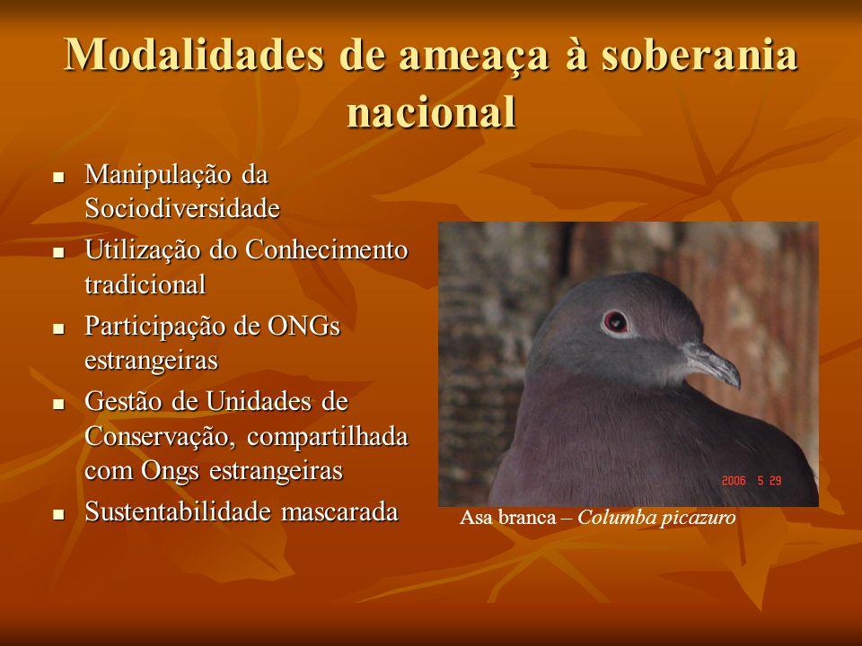 Modalidades de ameaça à soberania nacional Manipulação da Sociodiversidade Manipulação da Sociodiversidade Utilização do Conhecimento tradicional Util
