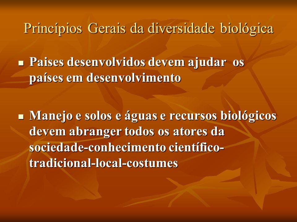Princípios Gerais da diversidade biológica Paises desenvolvidos devem ajudar os países em desenvolvimento Paises desenvolvidos devem ajudar os países