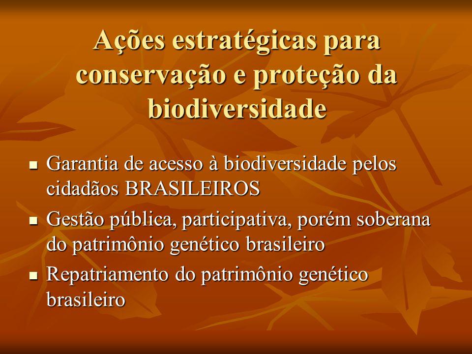 Ações estratégicas para conservação e proteção da biodiversidade Garantia de acesso à biodiversidade pelos cidadãos BRASILEIROS Garantia de acesso à b