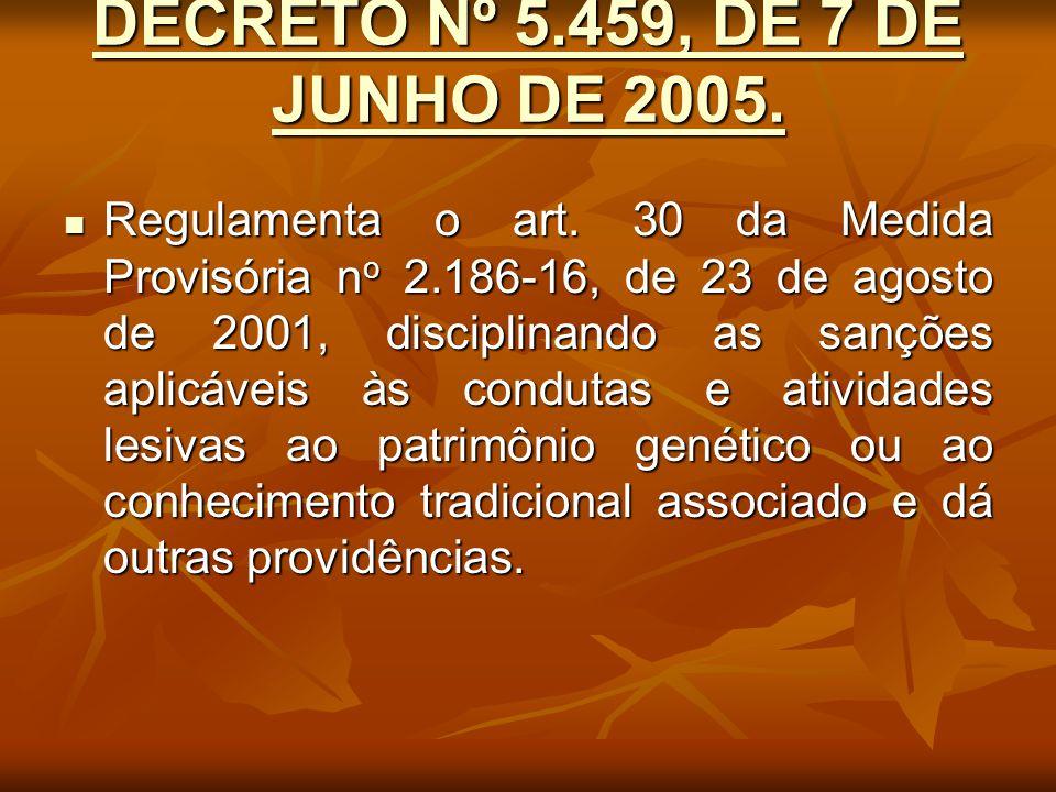 DECRETO Nº 5.459, DE 7 DE JUNHO DE 2005. DECRETO Nº 5.459, DE 7 DE JUNHO DE 2005. Regulamenta o art. 30 da Medida Provisória n o 2.186-16, de 23 de ag