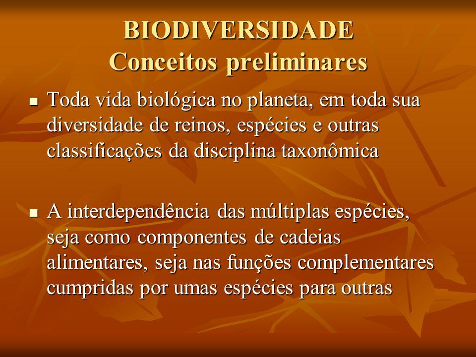 BIODIVERSIDADE Conceitos preliminares Toda vida biológica no planeta, em toda sua diversidade de reinos, espécies e outras classificações da disciplin